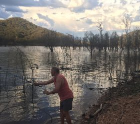 Vic fishing at Newtons Campground, Lake Eildon