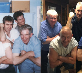 The O'Dea boys (and Vic) - Mick, Vic, Peter, Vincent & John - Past circa 1988 and Present Christmas 2017