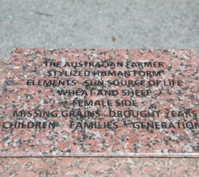 Plaque on front side of The Australian Farmer, Wudinna