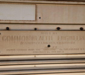 "Manufacturing plaque on the Indian Pacific: ""Built by Commonwealth Engineering, Granville"""