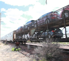 Cars being transported on the Indian Pacific at Cook towards Perth