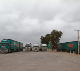 Trucks parked at the SA/WA Border at Border Village