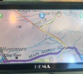 Hema map of track into Spear Creek Caravan Park