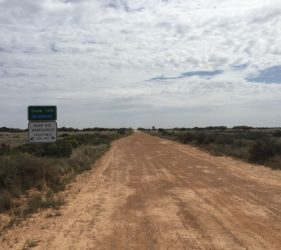 Start of Cook Road, 105Km of straight dirt