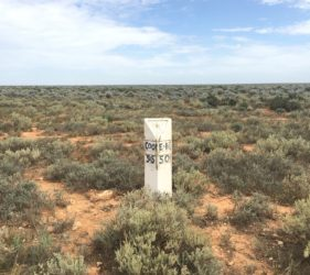 Old style road marker on Cook Road, 55Km to Cook, 50Km to Eyre Highway