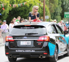 Before the start of Stage 1 of the Women's Tour Down Under at Gumeracha