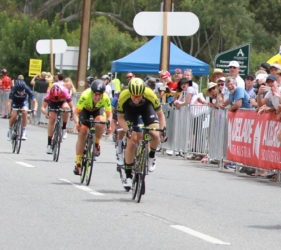 Sprint to the finish line of Stage 1 of the Women's Tour Down Under at Gumeracha