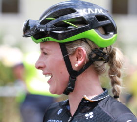 Annette Edmondson, winner of Stage 1 of the Women's Tour Down Under at Gumeracha