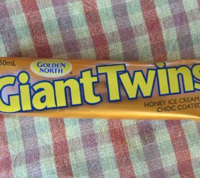A South Aussie favourite ice cream, a Golden North Giant Twin. Yummy!