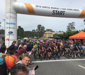 Stage 1 Start of the Women's Tour Down Under at Gumeracha