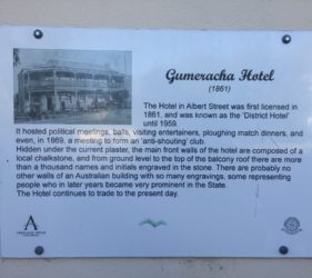 Plaque on the Gumeracha Hotel, originally known as the District Hotel