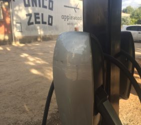 Tesla charging station at Unico Zelo Distillery, Gumeracha