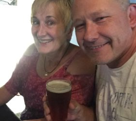 Leonie and Vic enjoying a beer at the Rising Sun Hotel, Lobethal