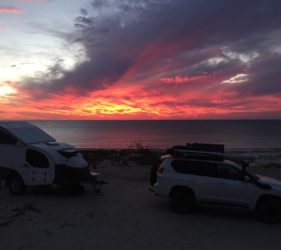 Spectacular sunset at Wauraltee Beach campsite