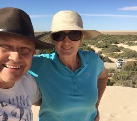 Vic and Leonie on the dunes at the Bamboos campsite