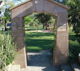Gumeracha Memorial Arch in memory of a police constable and a rescuer who died rescuing a trapped man down a well.
