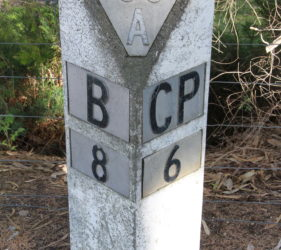 Roadmarker at Gumeracha - 38 Kms to Adelaide, 8 Kms to Birdwood and 6 Kms to Chain of Ponds