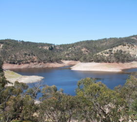 Kangaroo Creek Dam. Water level low due to Dam upgrade